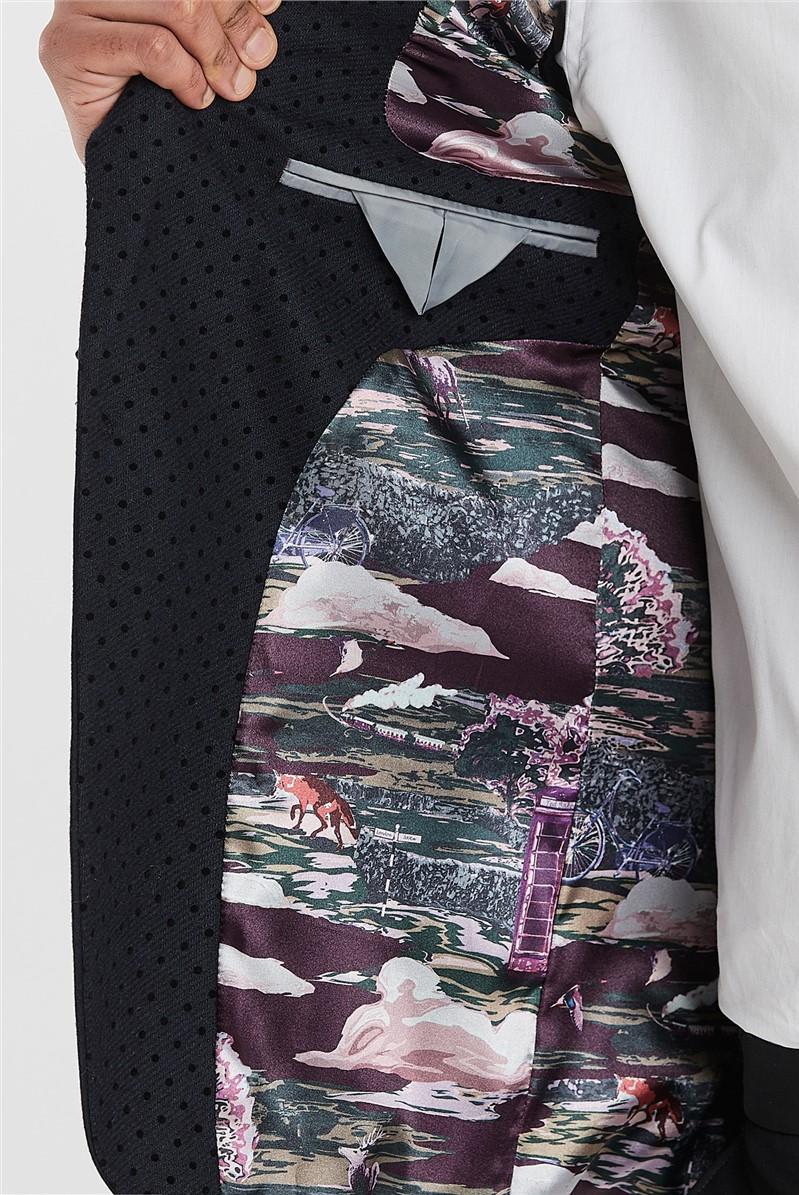 Navy Slim Fit Jacket with Flock Lapel