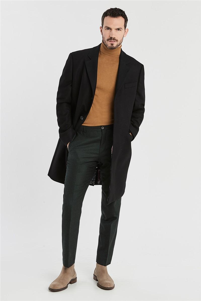 Black Melton Regular Fit Overcoat