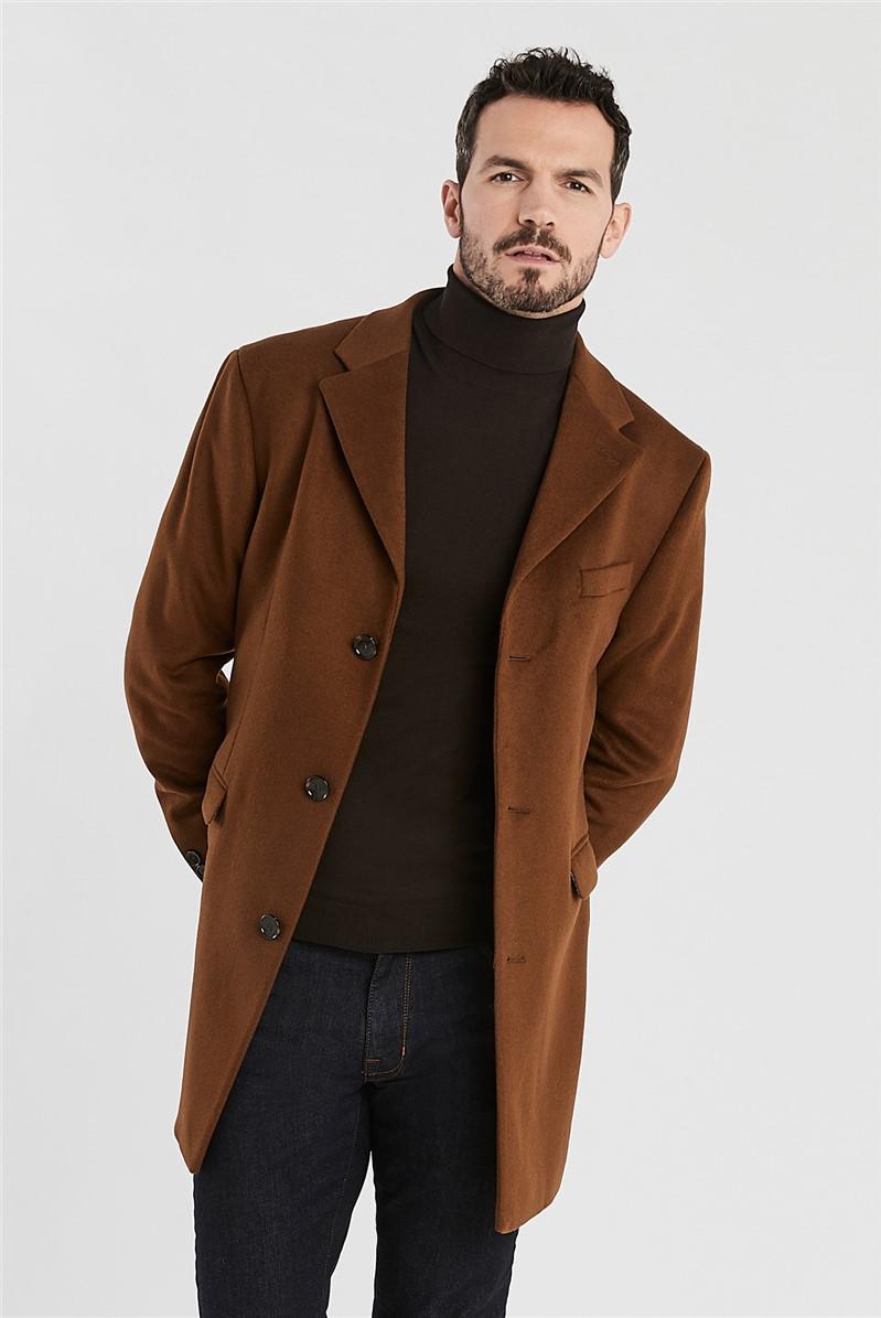 Tan Melton Slim Fit Overcoat