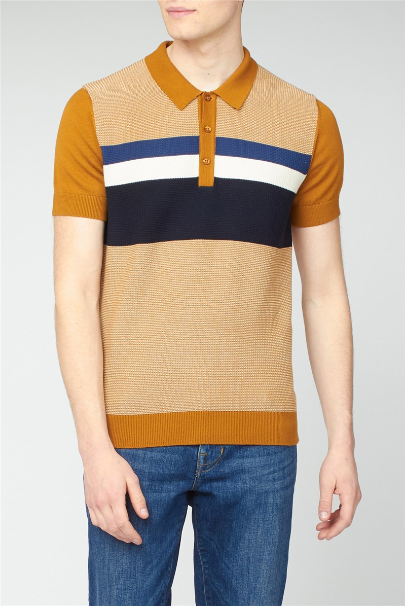 Yellow Chest Stripe Textured Knit Polo Shirt