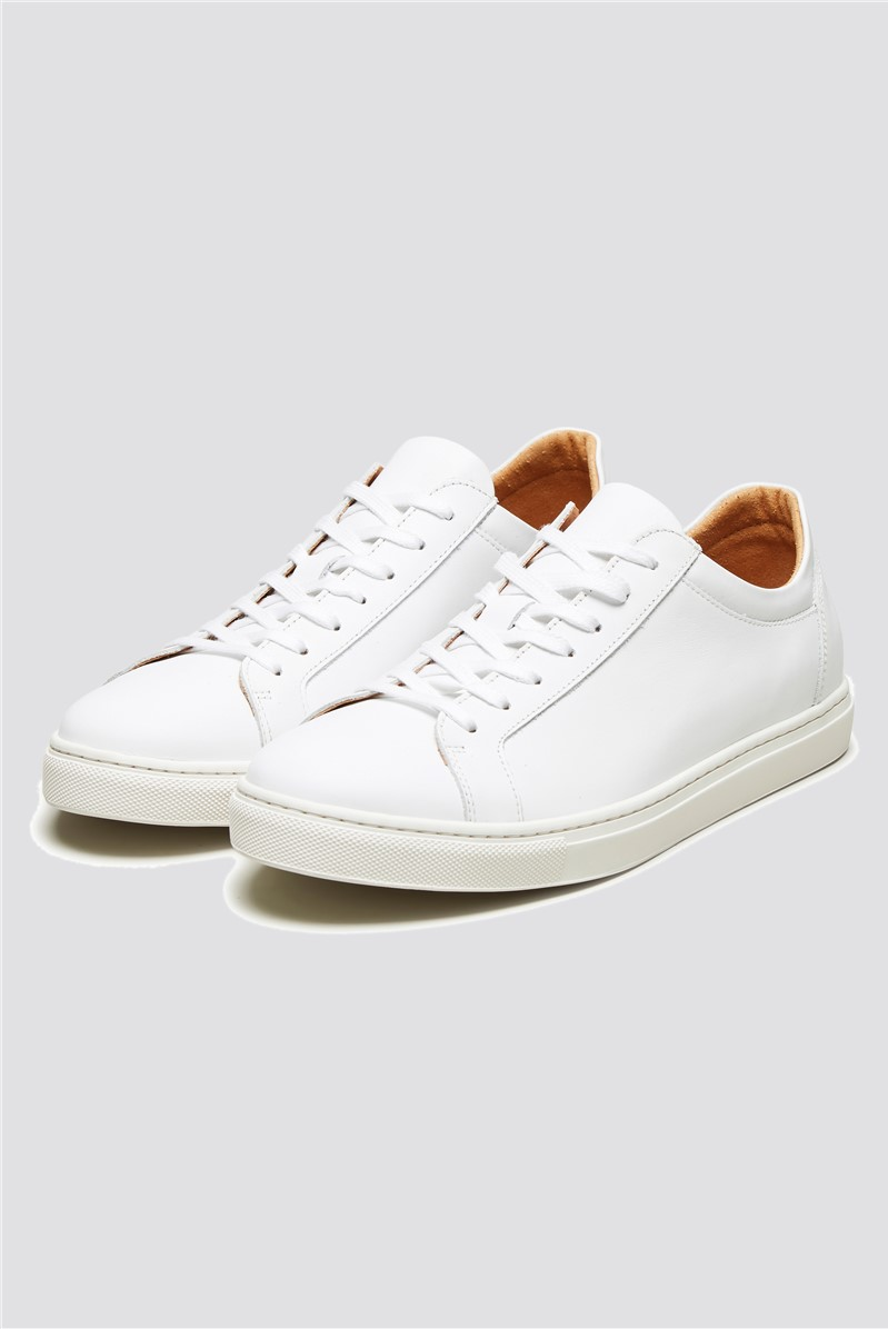 Leather Lace Up Trainer in White