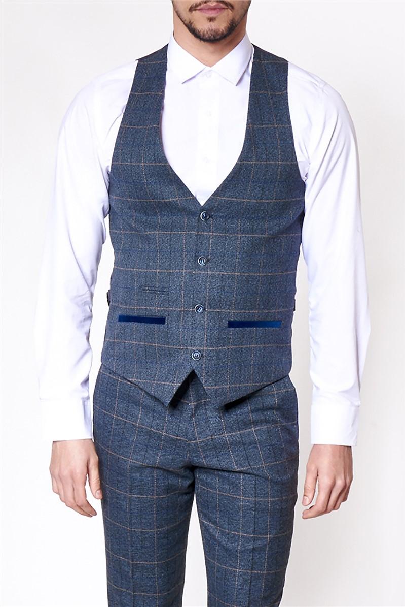 Scott Blue Tailored Fit Waistcoat
