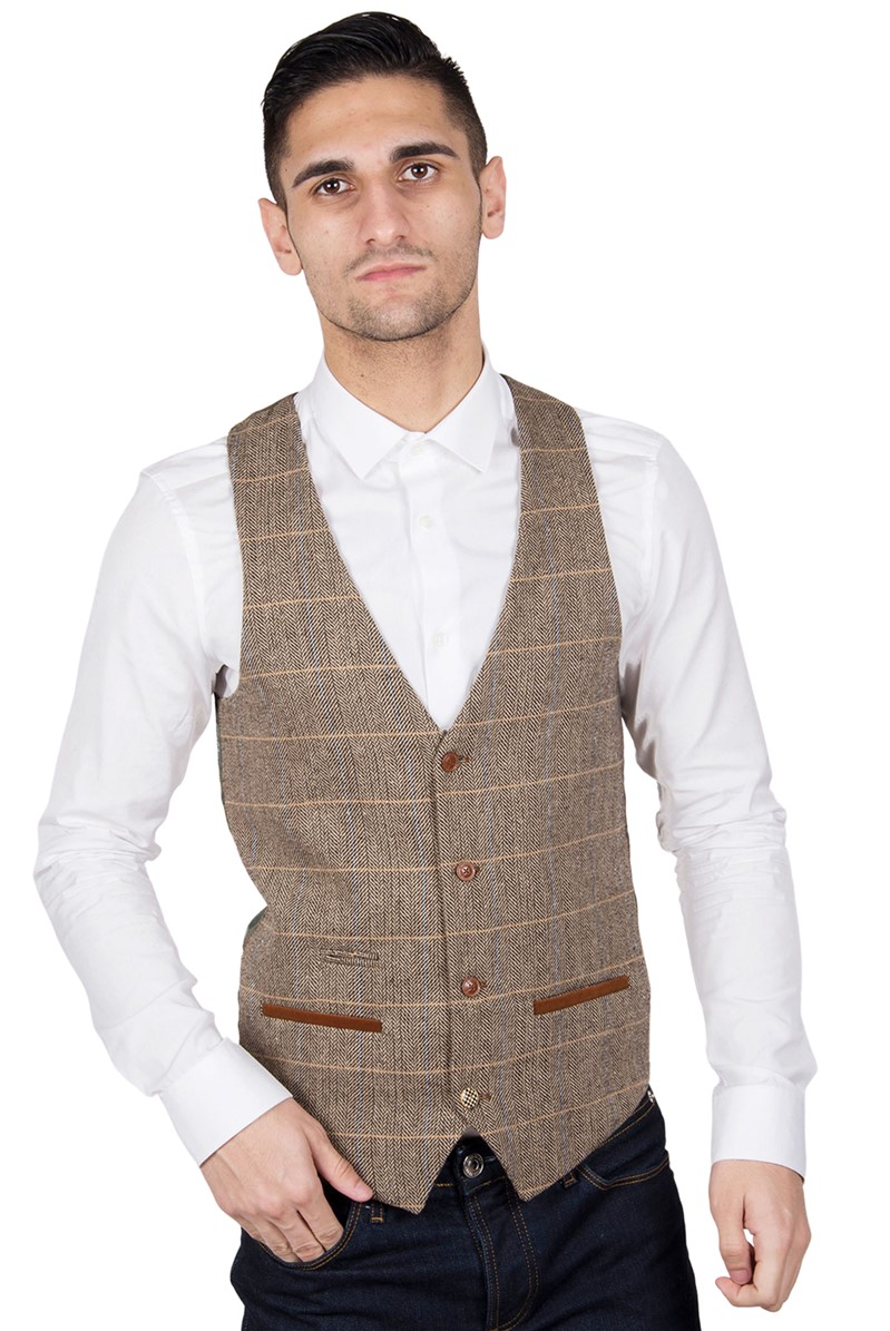 Ted Tan Check Tailored Fit Suit