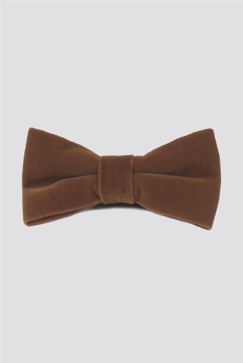 Dark Tan Velvet Bow Tie