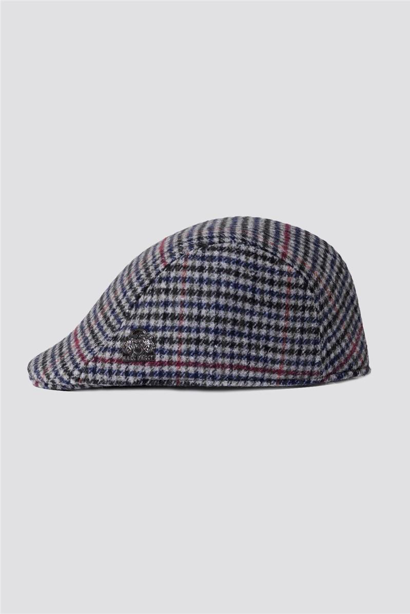 Edward Navy Check Flat Cap