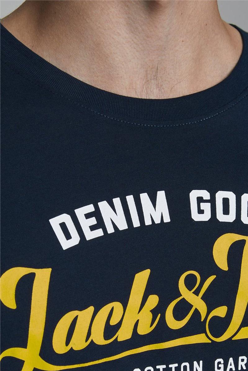 Navy Logo Print T-Shirt