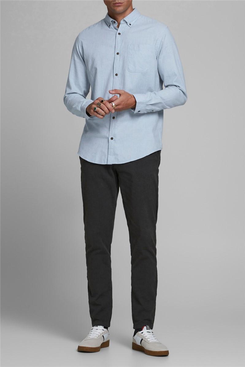Blue Melange Button Down Shirt