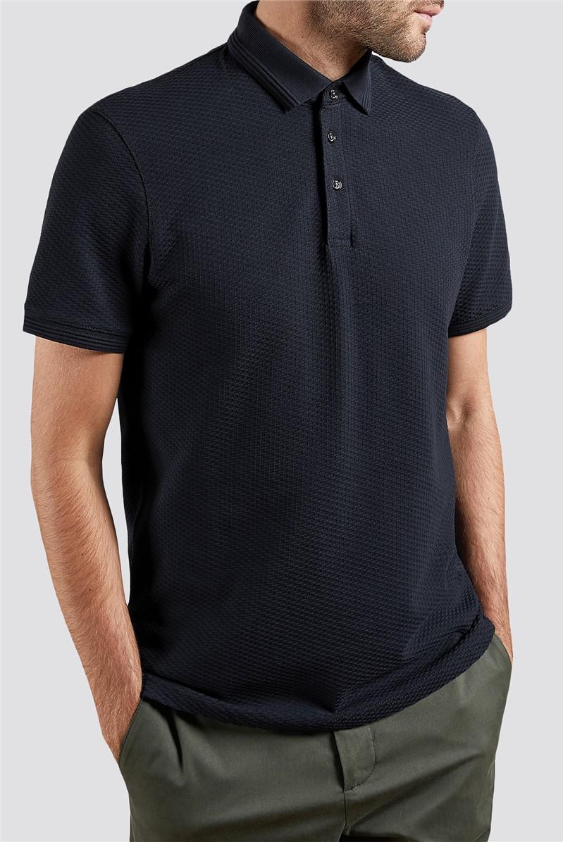 Navy Textured Polo Shirt