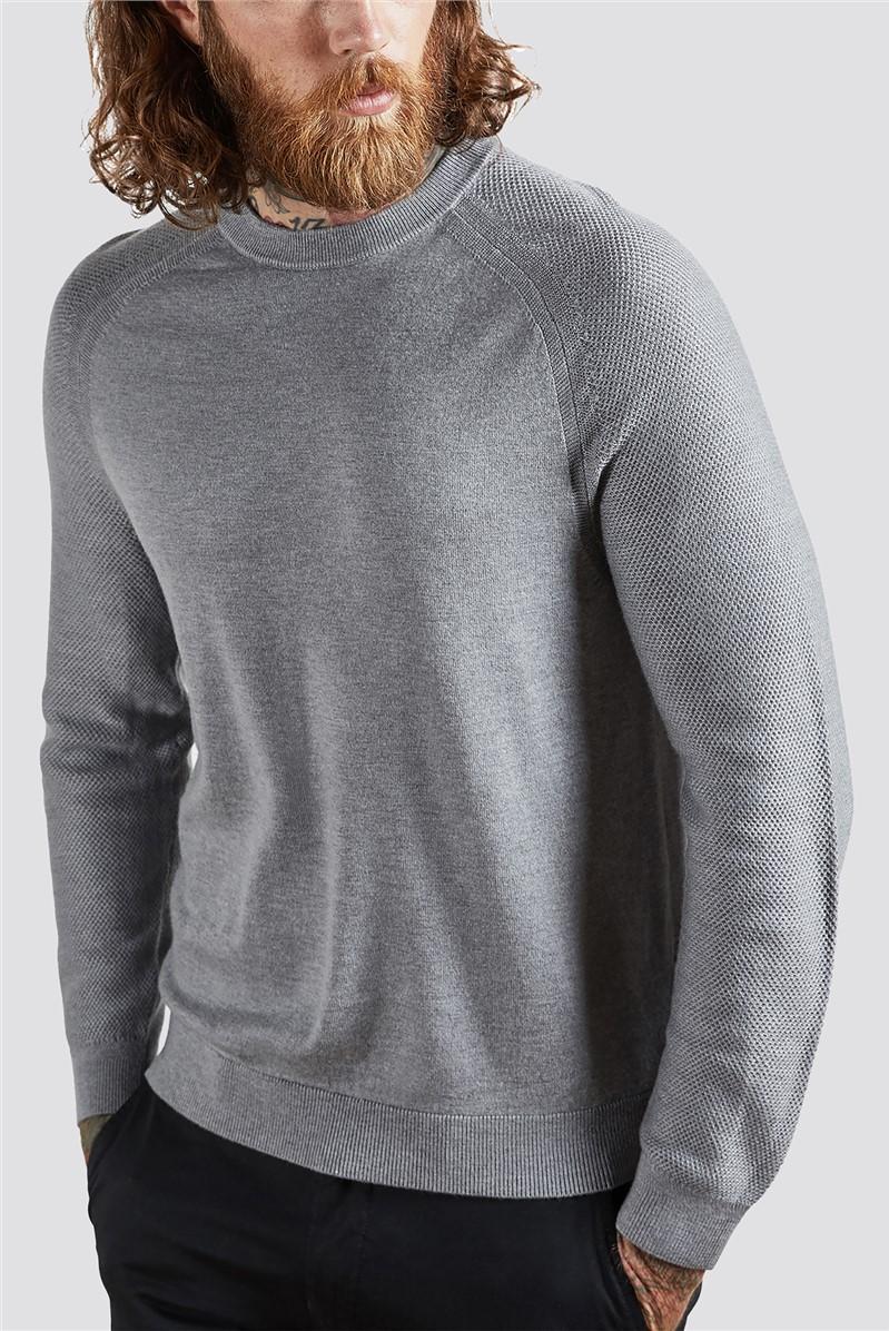 Grey Textured Crew Neck Jumper