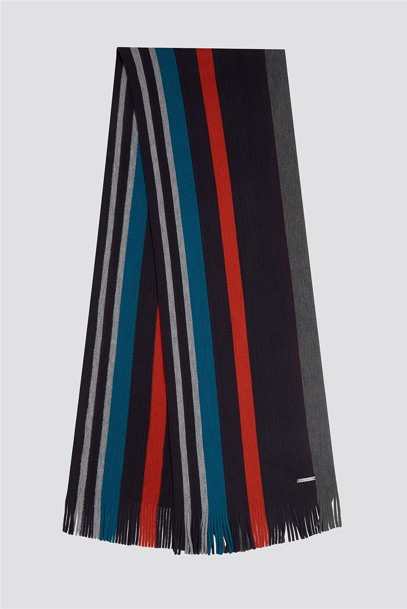 Navy Striped Scarf