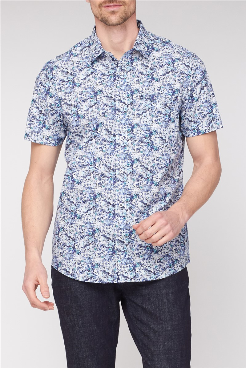 Blurred Floral Print Smart Casual Shirt