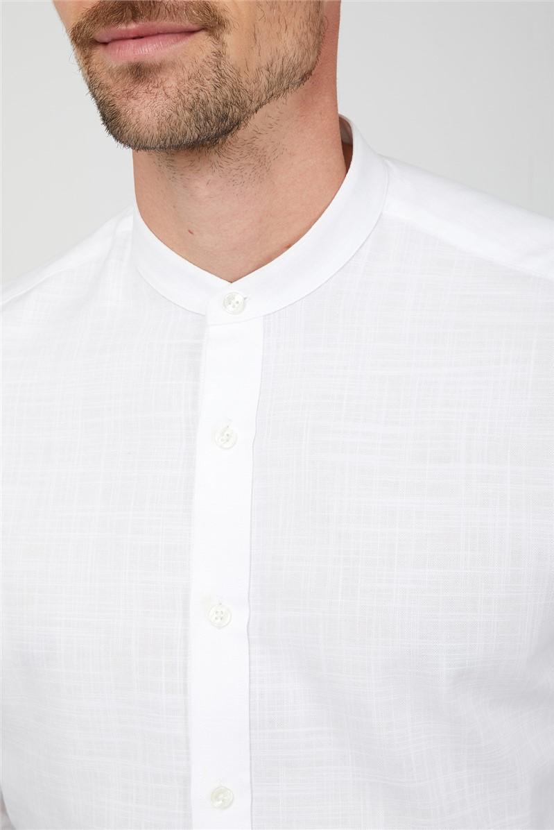 White Long Sleeve Slub Grandad Shirt