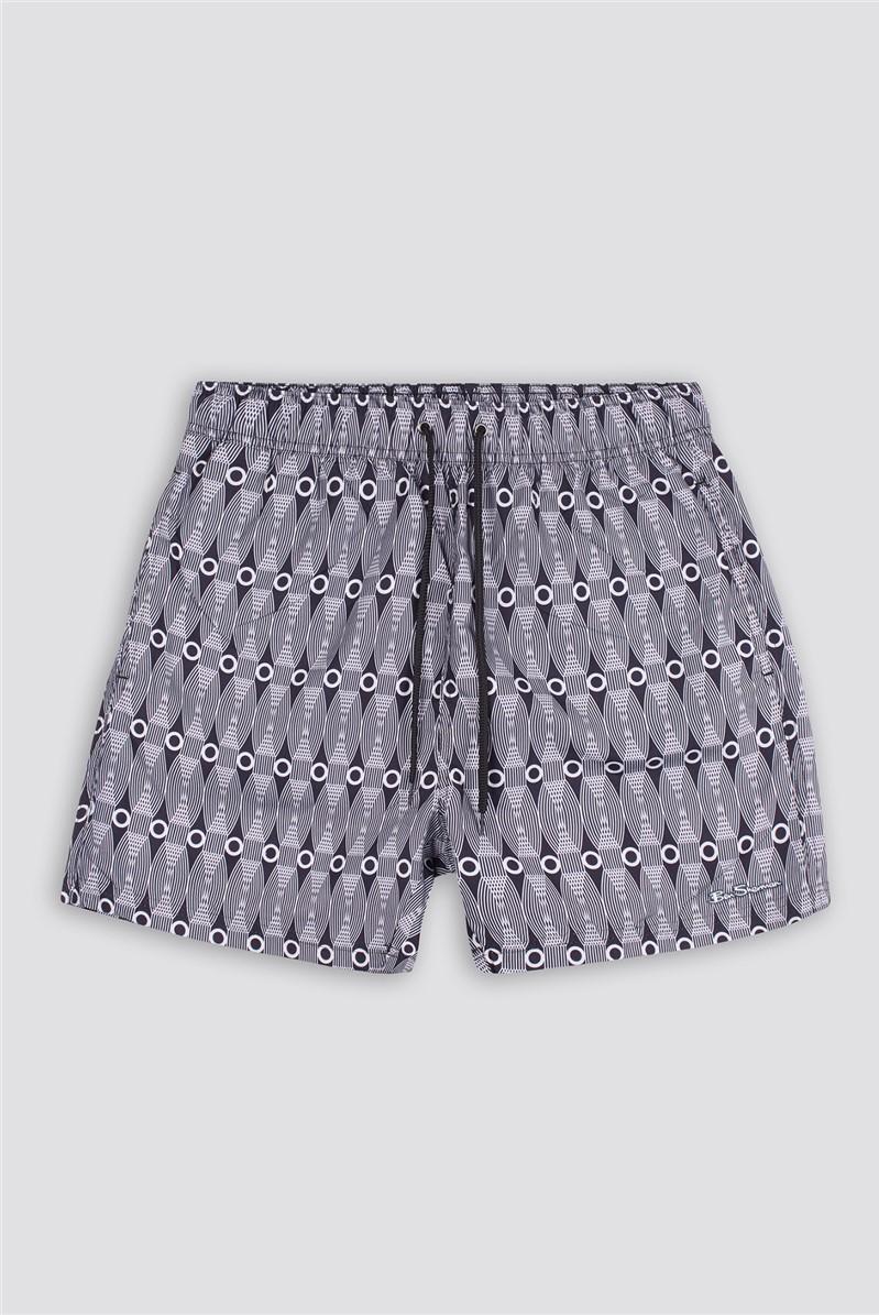 Black White Shoal Bay Swim Short