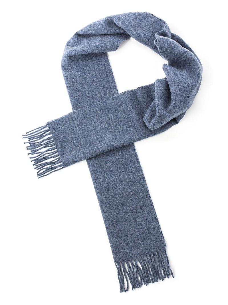 Blue Plain Lambswool Scarf
