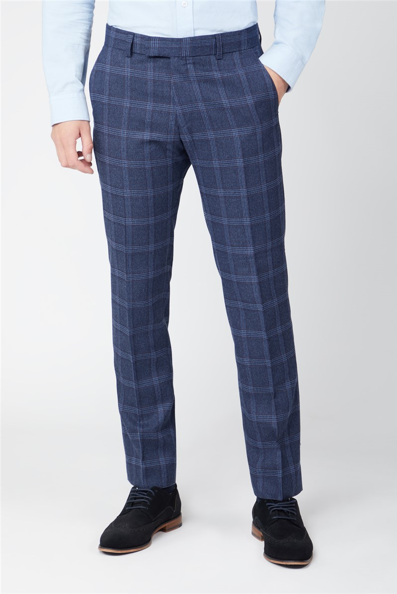 Navy Tweed with Blue Overcheck Suit