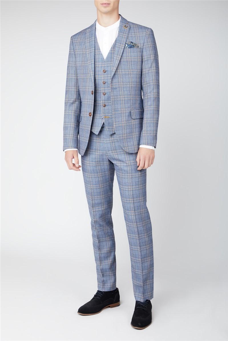 Light Blue Tweed Check Suit