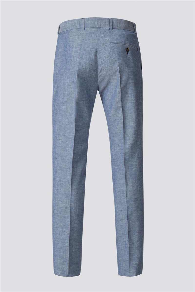 Pale Blue Trousers With Linen Fleck