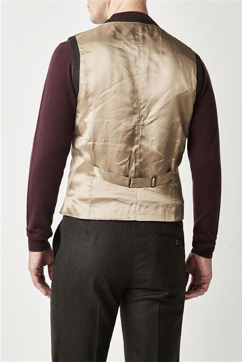 Green Brown Herringbone Waistcoat