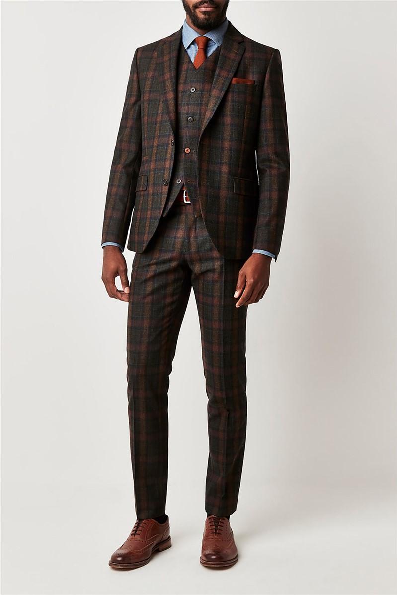 Green Tartan Check Slim Fit Suit Jacket