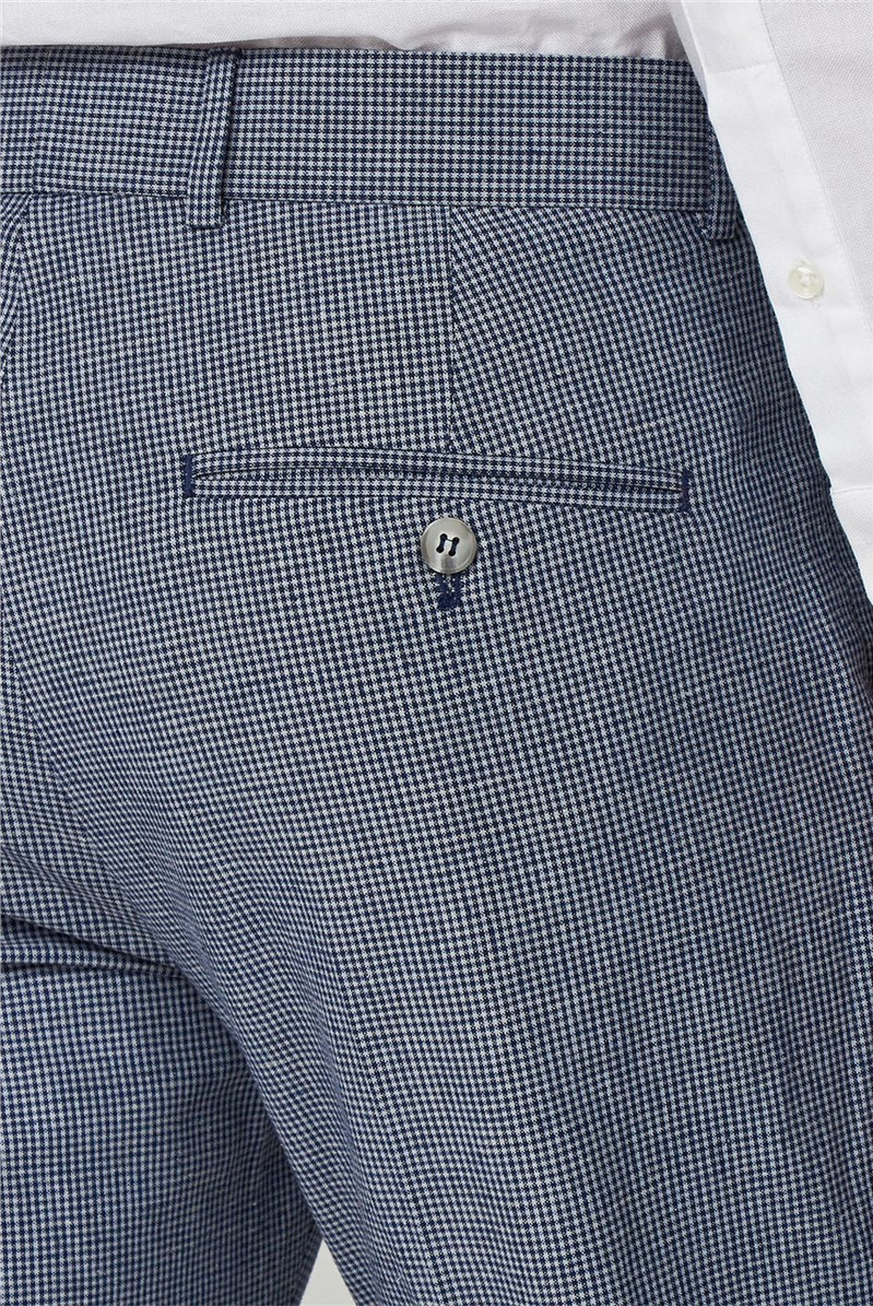 Navy Micro Check Suit