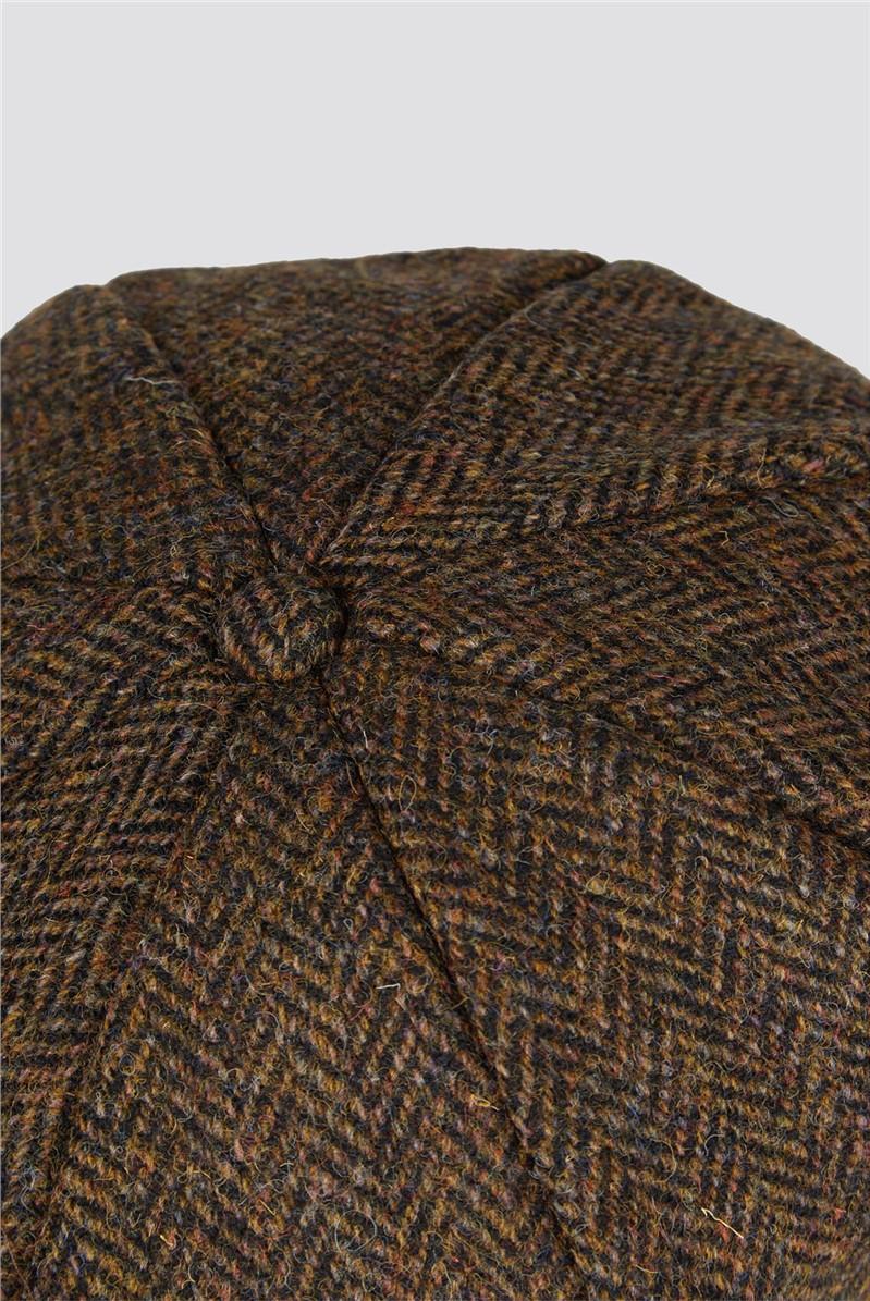 Brown Herringbone Harris Tweed Hat