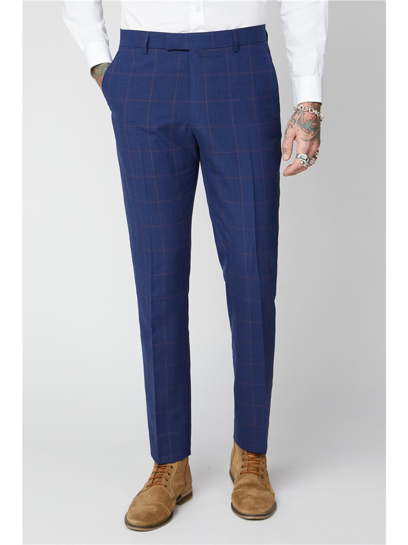 Navy & Burgundy Checked Trousers