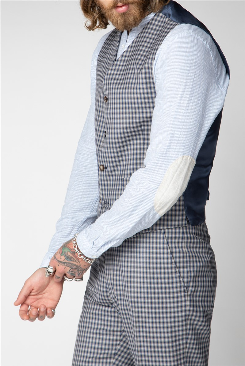 Mid blue and Navy Check Suit