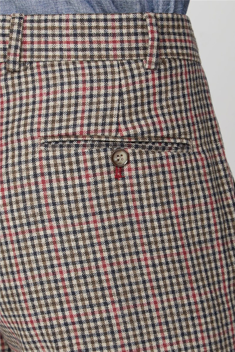 Fawn Black and Red check Trousers.