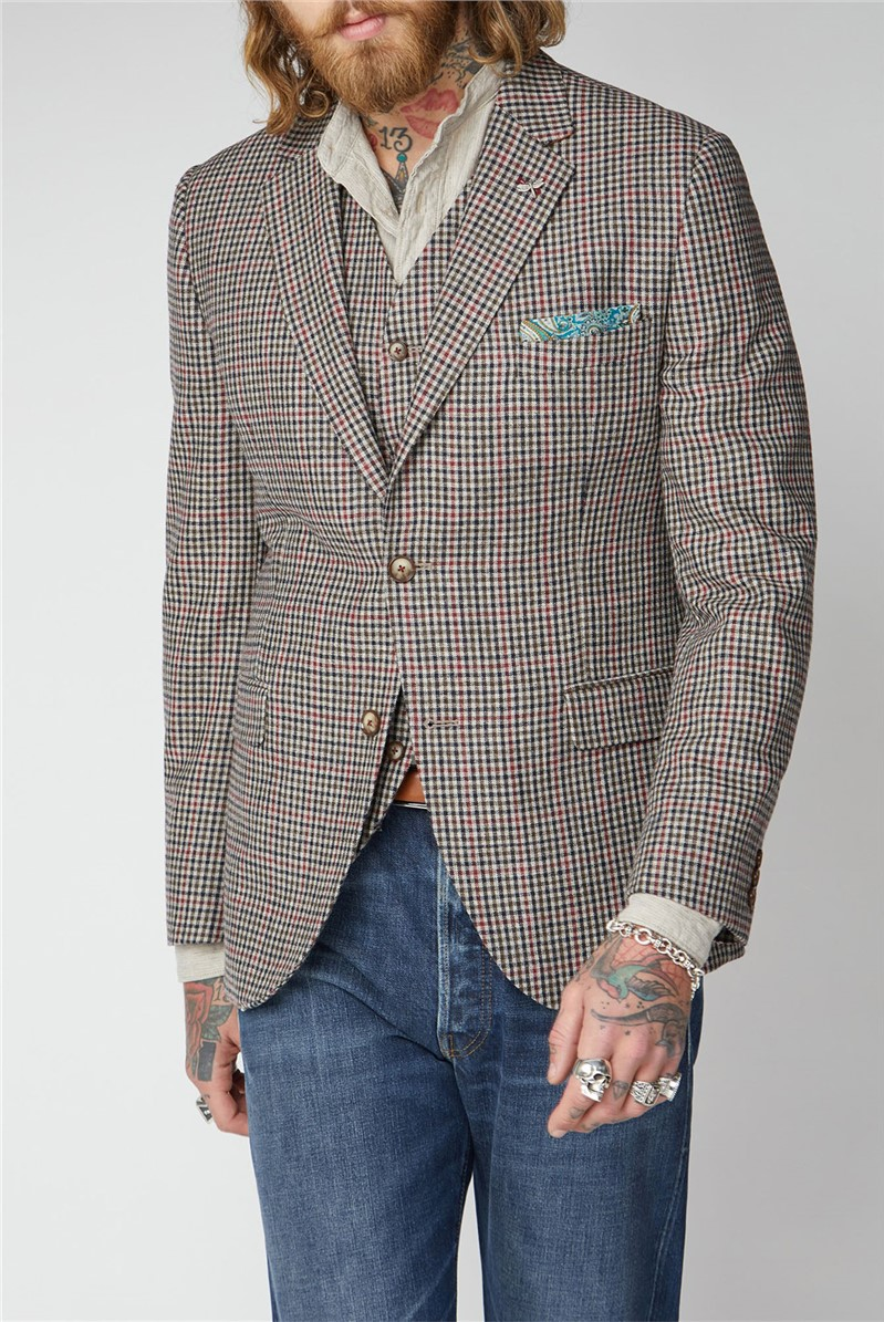 Fawn Black And Red Check Waistcoat