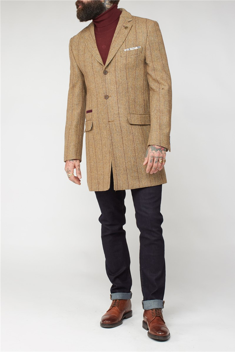 Gold Herringbone Coat