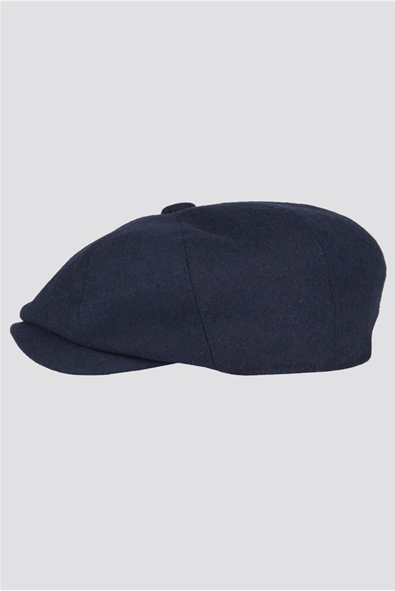 Navy Wool Melton Hat
