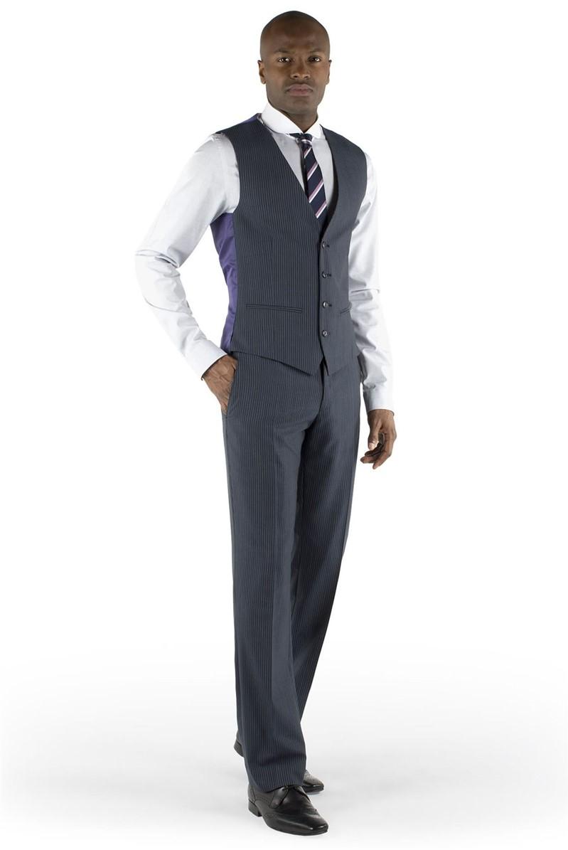 Charcoal Blue Stripe Waistcoat