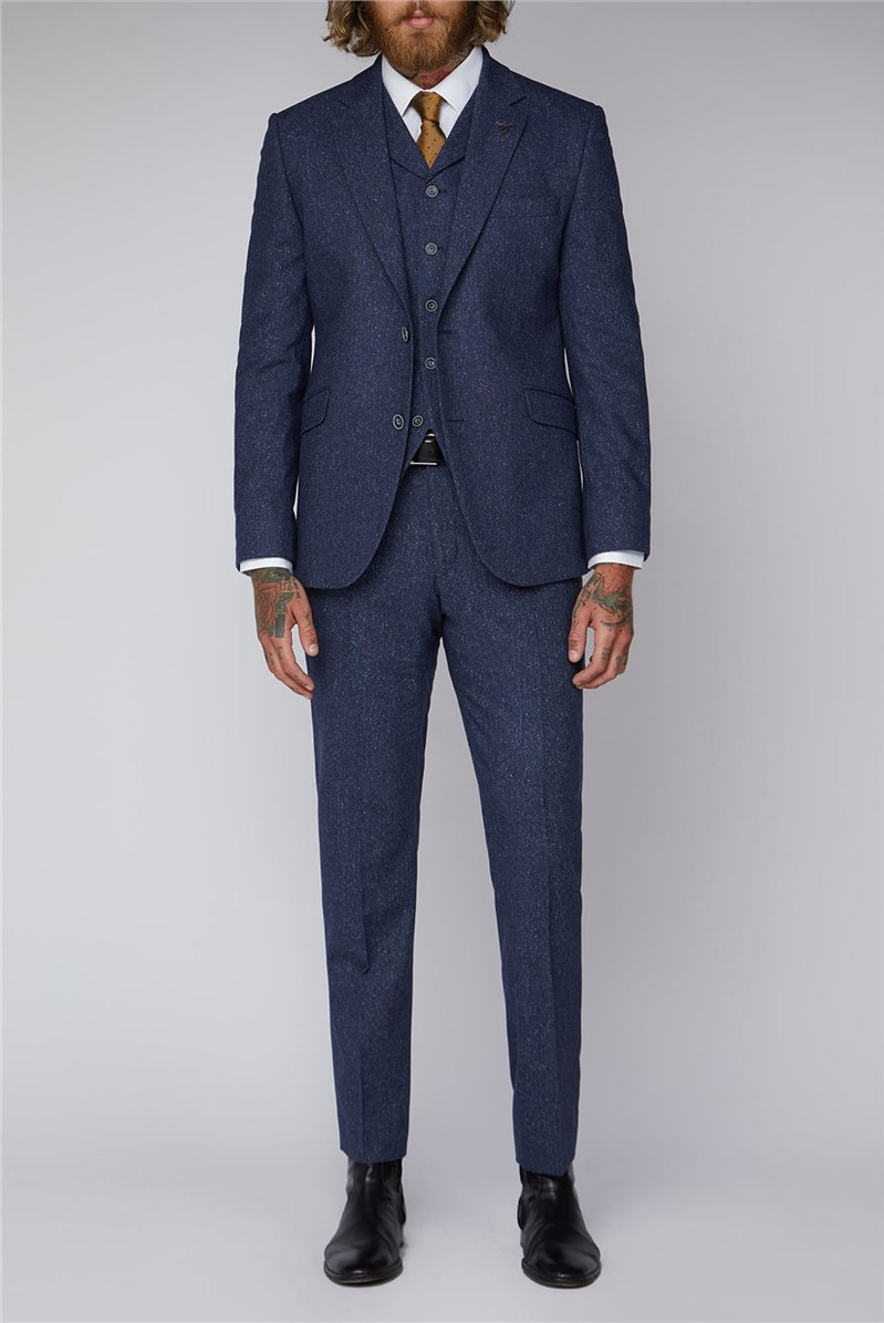 Blue Tweed Tailored Fit Suit