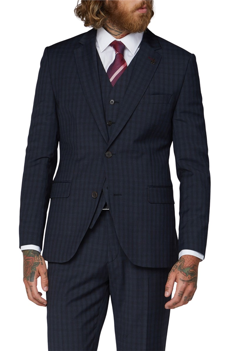 Blue Checked Tailored Fit Waistcoat