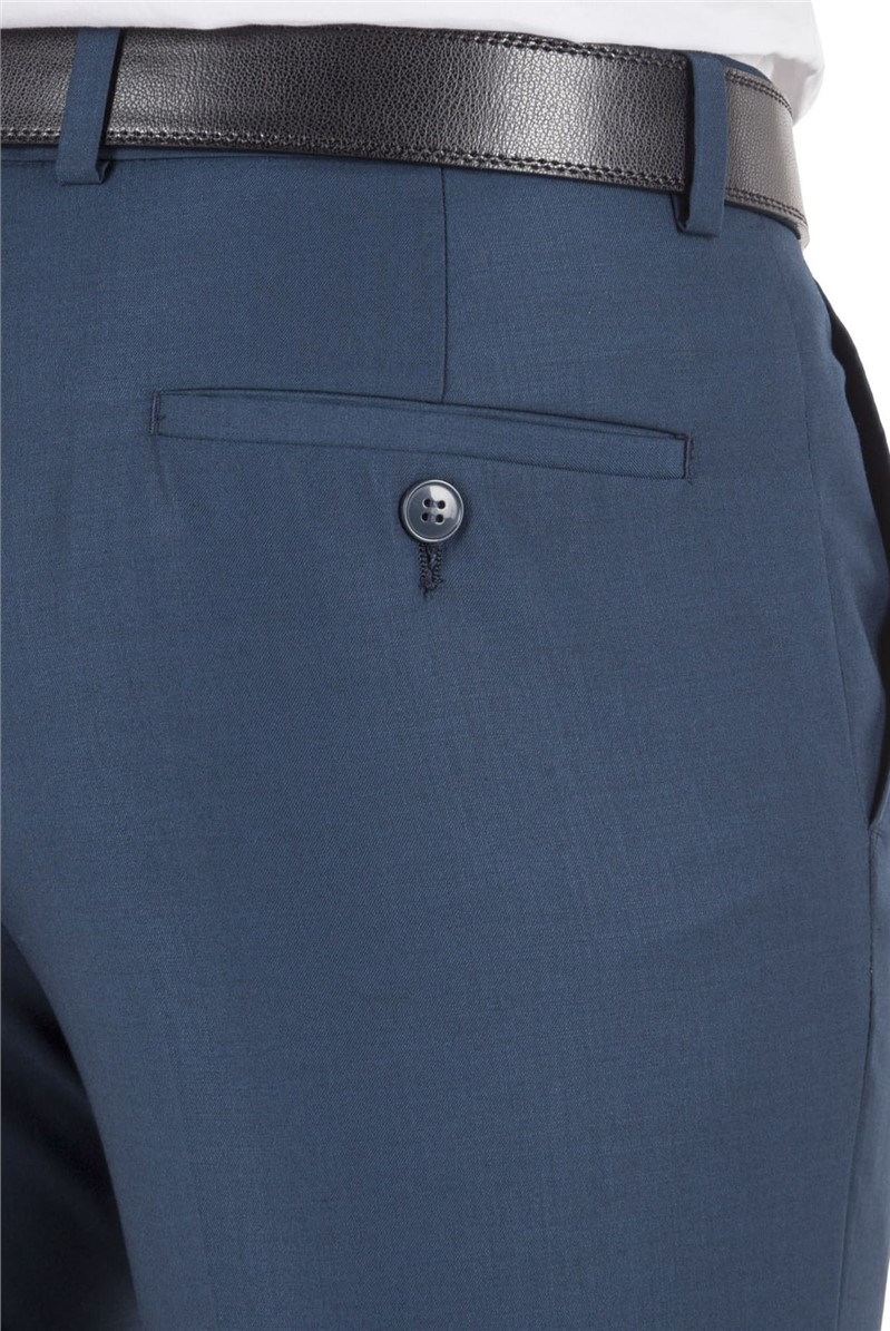 Dark Teal Twill Slim Fit Suit Trouser