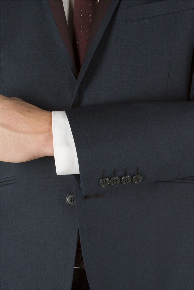 Navy Twill Suit Jacket with Contrasting Lapel