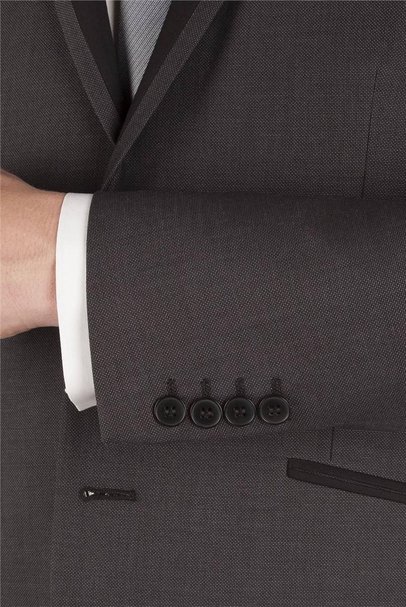 Black Prom Contrast Lapel Slim Fit Suit Jacket