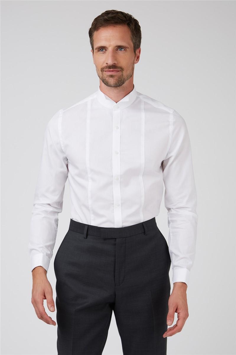 Wing Collar Dobby Panelled Slim Fit Tuxedo Shirt