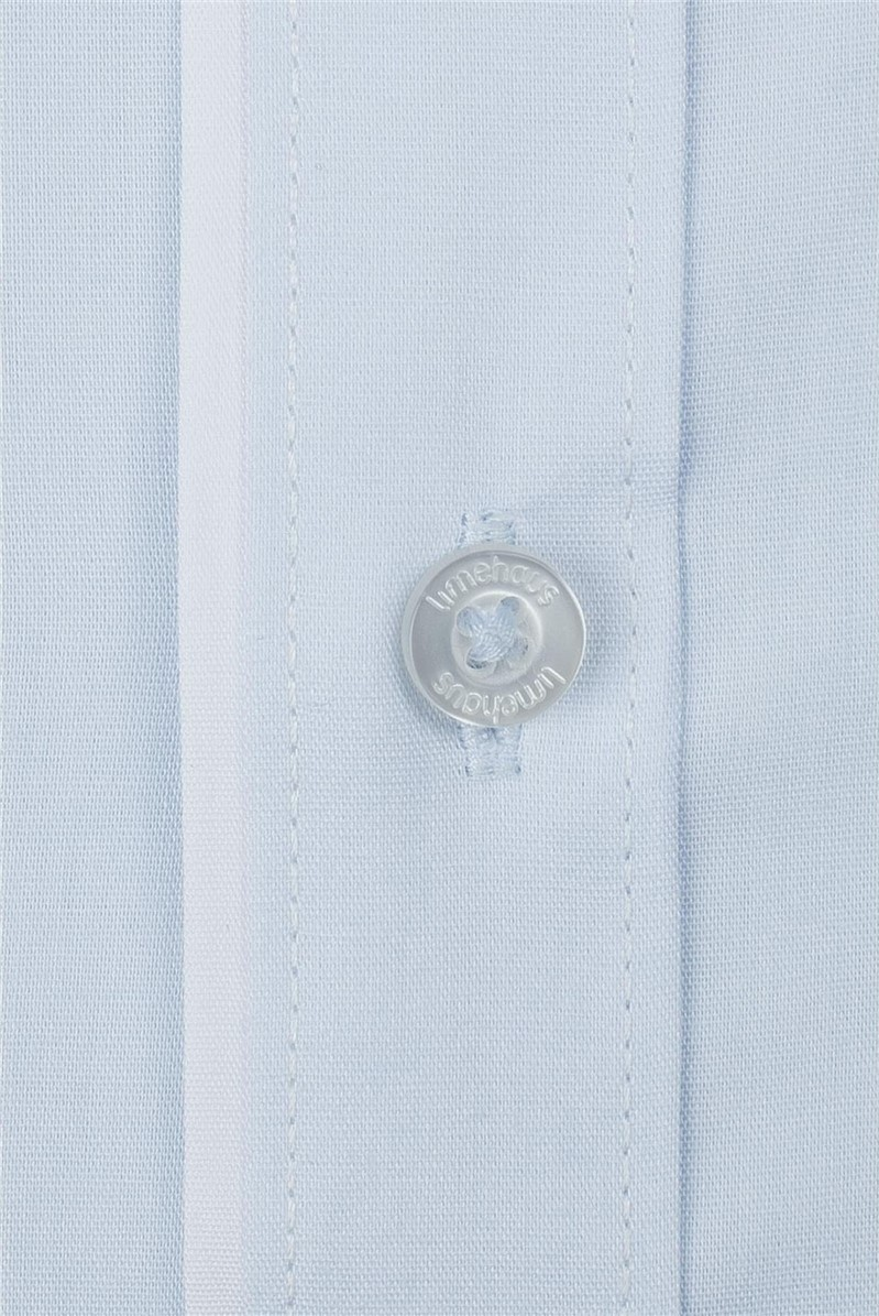 Blue Poplin Slim Fit Shirt Tipped With White