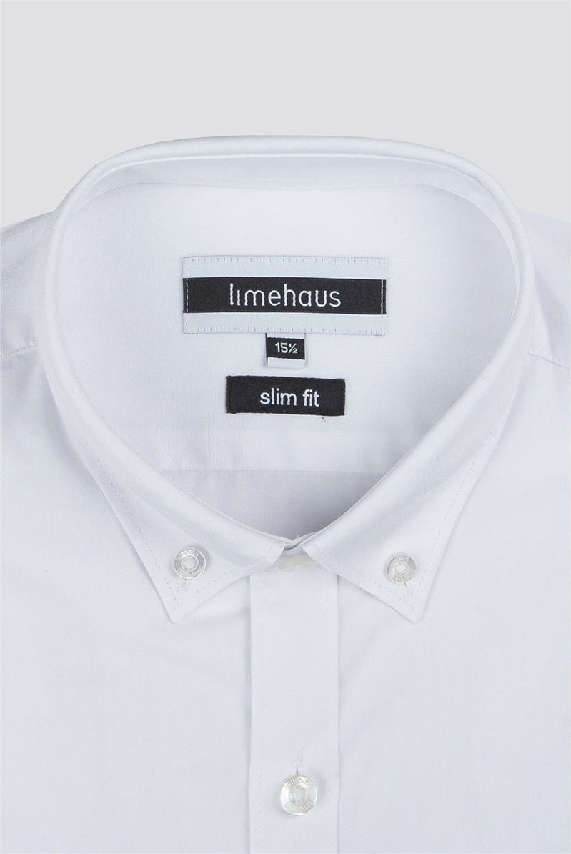 White Button Down Collar Slim Fit Shirt