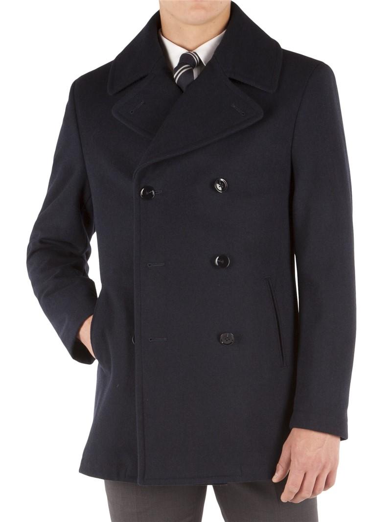 Navy Slim Fit Pea Coat