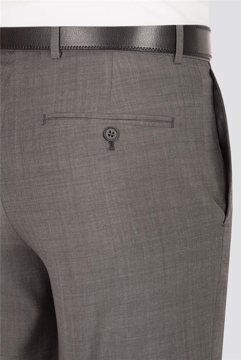 Grey Sharkskin Regular Fit Trousers