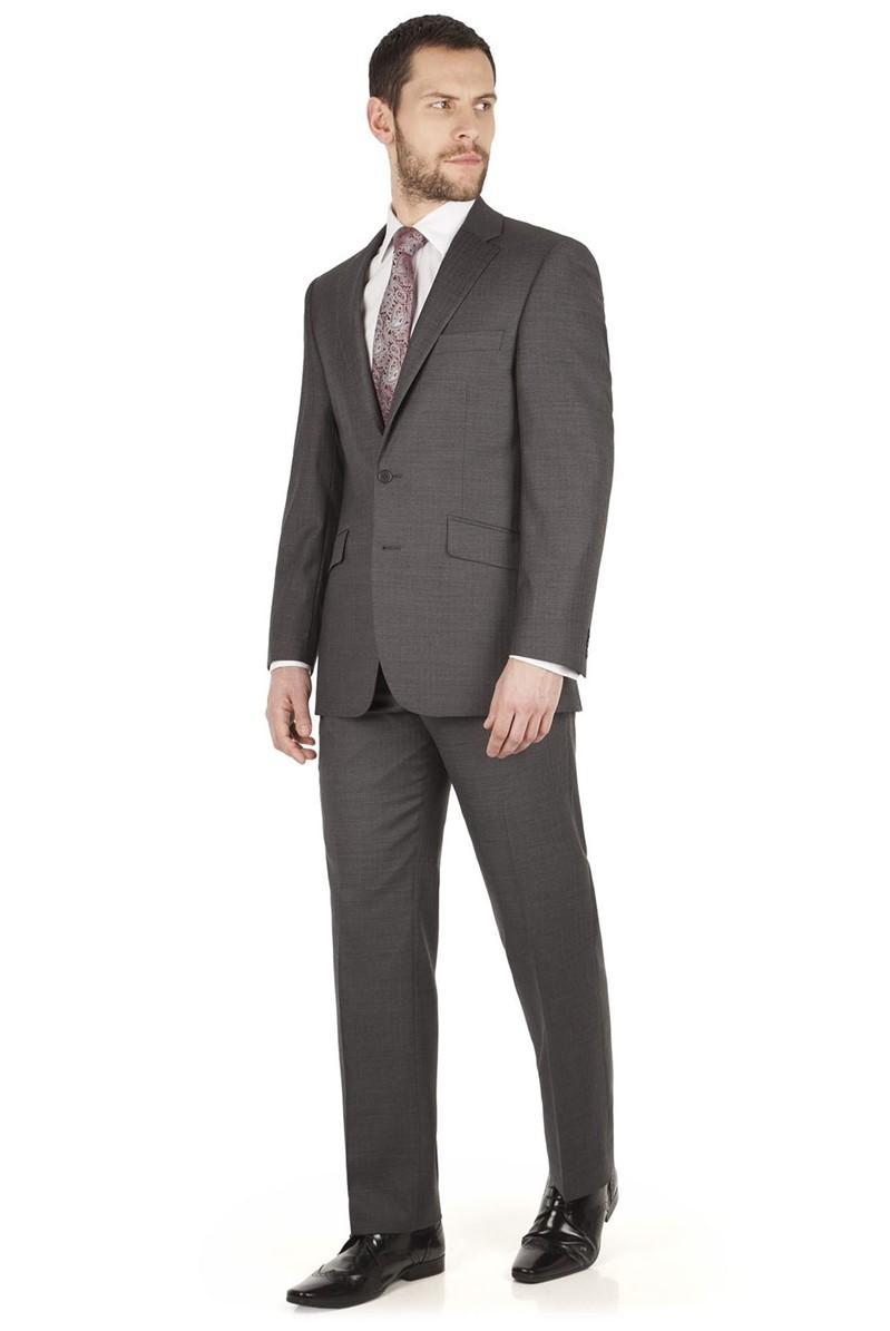 Grey Herringbone Regular Fit Jacket