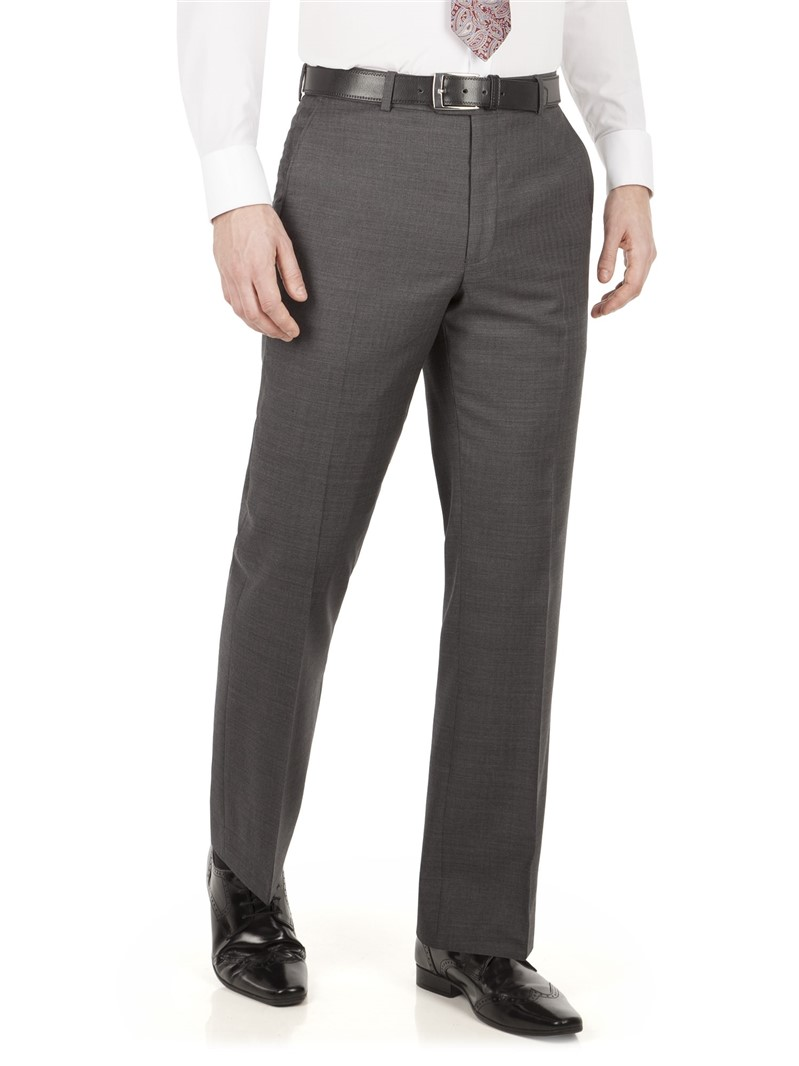 Grey Herringbone Regular Fit Trousers