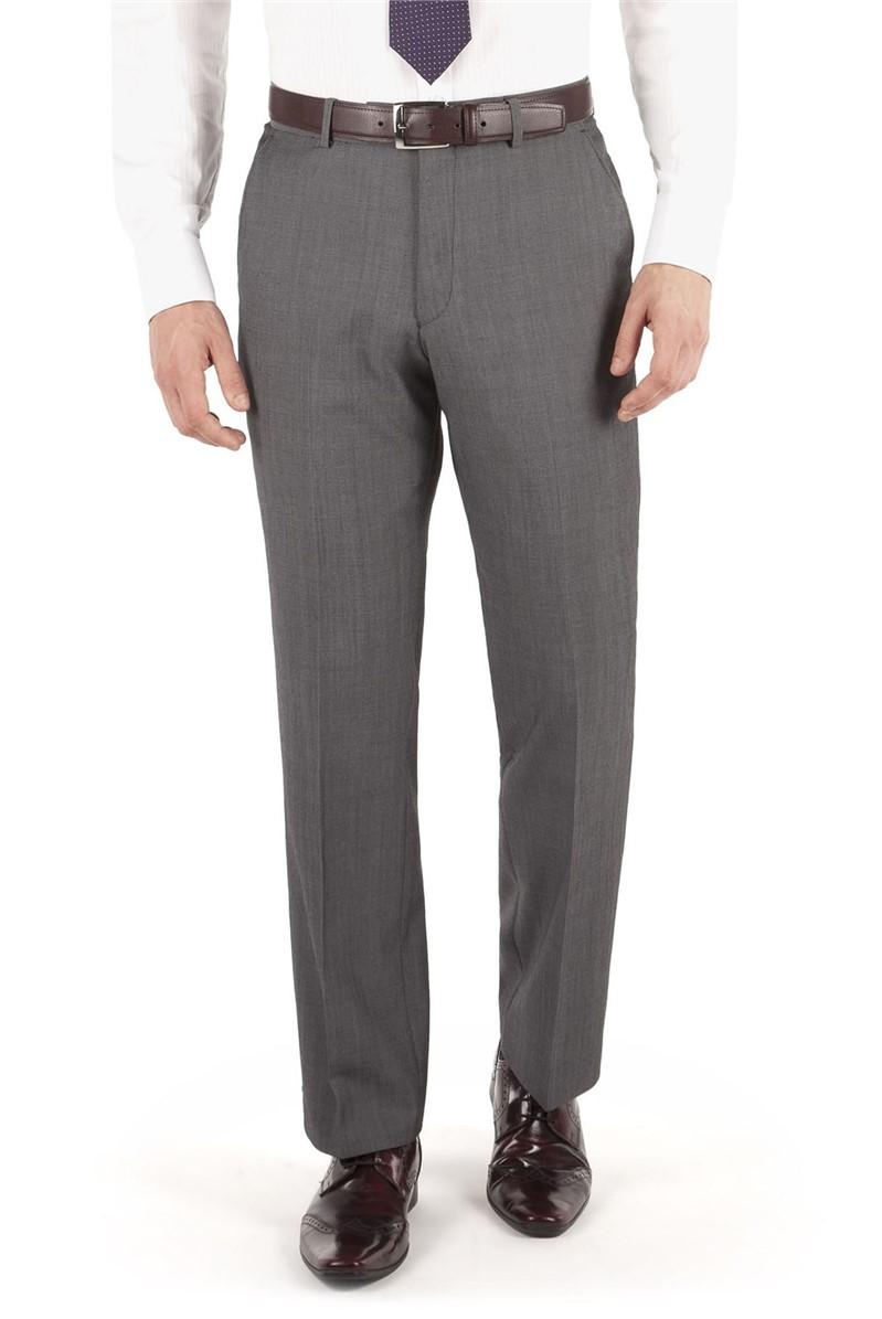 Grey Twill Regular Fit Suit Trouser