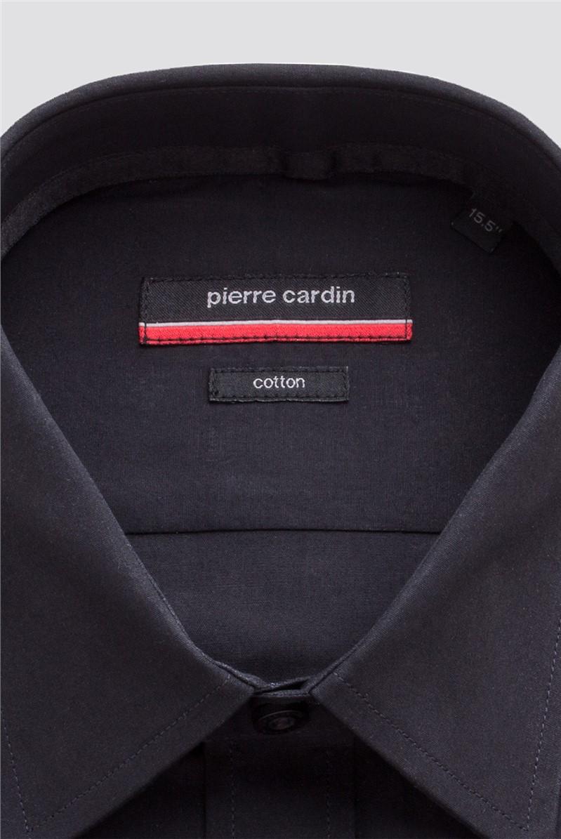 Black Cotton Double Cuff Shirt