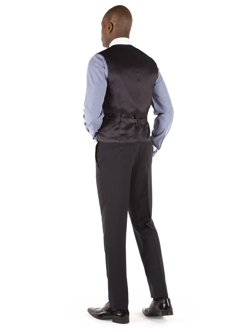 Navy Herringbone Tailored Fit Performance Suit Waistcoat