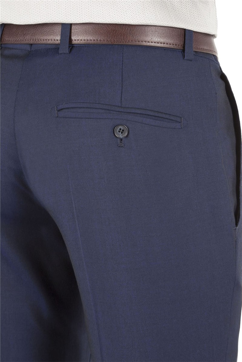 Blue Twill Tailored Fit Suit Trousers