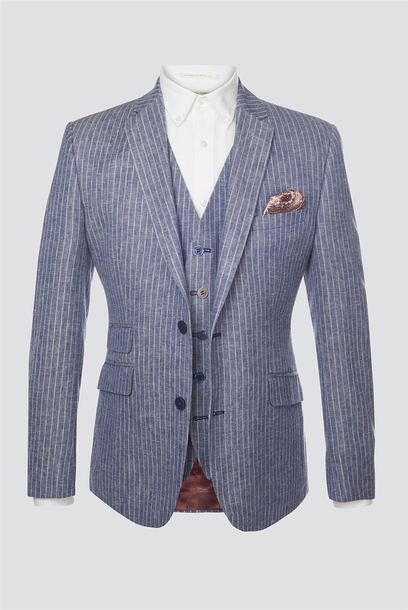 Blue Striped Regular Fit Blazer