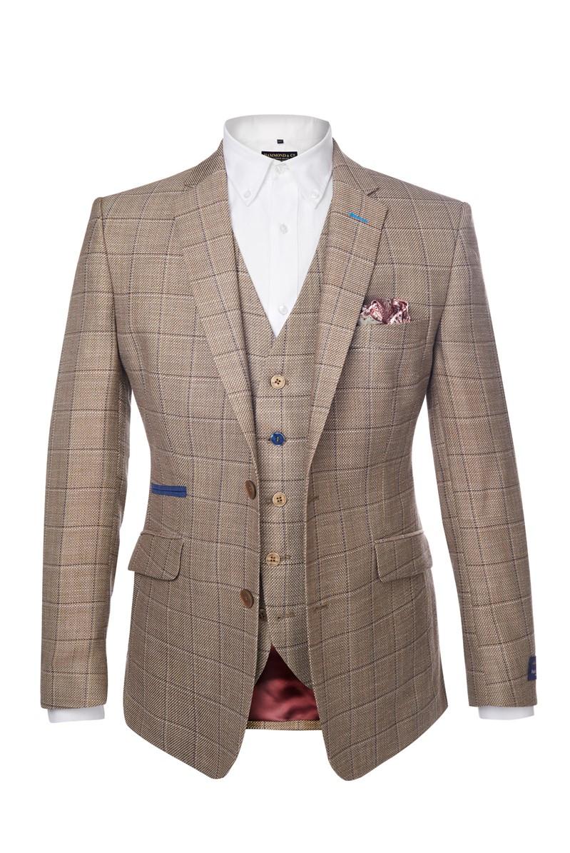 Stone & Blue Overcheck Waistcoat